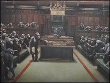 Banksy Chimps painting in Bristol museum