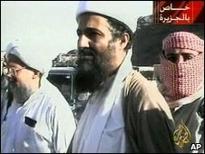 Osama Bin Laden (centre) with Ayman al-Zawahiri (left) in 2001