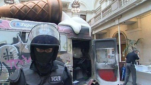 Ice cream van and policeman artworks