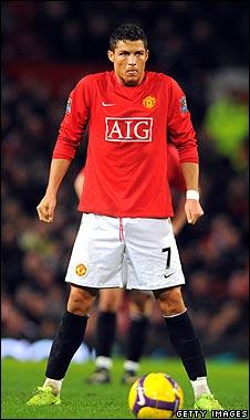 Cristiano Ronaldo in a typical free kick pose