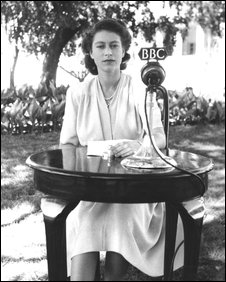 The Queen pictured in 1947 before delivering a speech in South Africa.