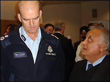Chief of Victoria state police Simon Overland (L) and Raj P Dudeja, the Chief Editor of the Melbourne-based Indian Voice newspaper - 9/6/2009