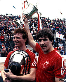 Alex McLeish and Mark McGhee celebrate their 1983 Scottish Cup win