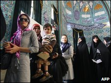 Iranian women vote in Tehran mosque