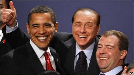 Barack Obama, Silvio Berlusconi, Dmitri Medvedev