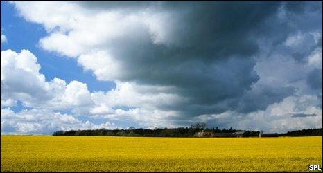 Rainclouds and cropfields
