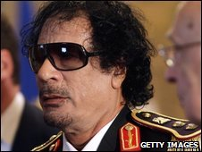 Libyan leader Muammar Gaddafi attends a meeting with Italian President Giorgio Napolitano on Wednesday
