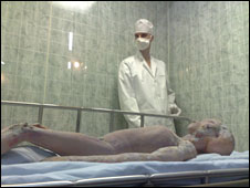A mock-up of an alien autopsy at the International UFO Museum in Roswell, New Mexico