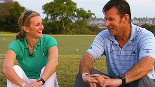 Gabby Logan and Nick Faldo
