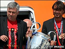 Former AC Milan coach and Paolo Maldini with the Champions League trophy in 2007
