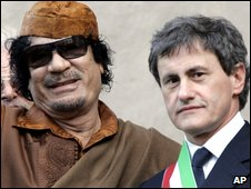 Muammar Gaddafi and Giovanni Alemanno