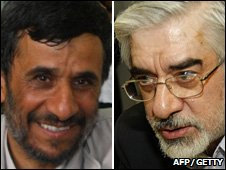 Composite pic of Mahmoud Ahmadinejad (l) and Mir Hossein Mousavi