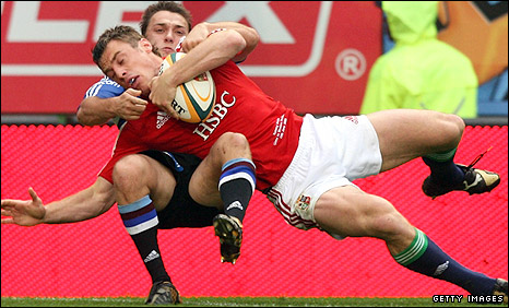 Tommy Bowe scored the Lions' first try against Western Province
