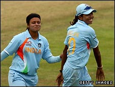 Priyanka Roy (left) took 5-16 for India