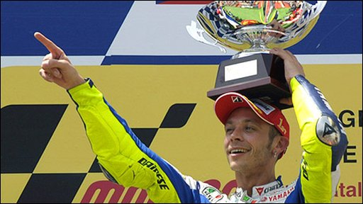 Valentino Rossi celebrates his stunning victory