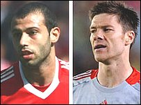Javier Mascherano (left) and Xabi Alonso