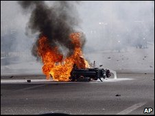 Burning police motorycycle in Tehran (14 June)