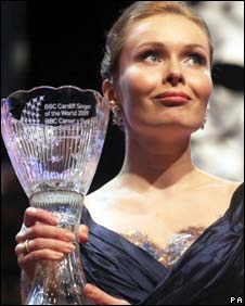 Ekaterina Shcherbachenko with Cardiff Singer of the World trophy