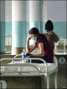 Students in an isolation ward in a Punjab hospital after showing swine flu symptoms