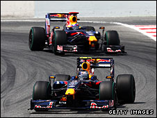 Sebastian Vettel leads Red Bull team-mate Mark Webber during the Spainsh Grand Prix