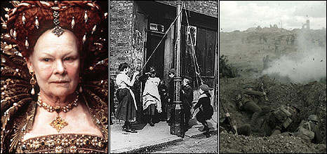 Queen Elizabeth I, A Victorian slum and a World War I trench
