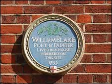 Blake's commemorative plaque