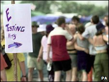 Festival goers next to a sign advertising ecstasy purity testing equipment