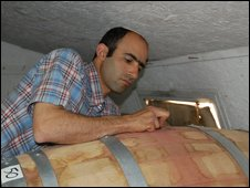 Erez Ben Sa'adon inside his winery