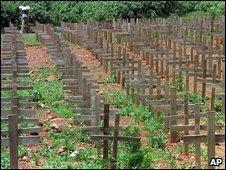 A mass burial site near Kigali, Rwanda