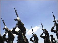 Members of South Sudan's army in May 2008