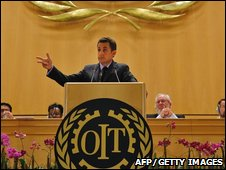 President Nicolas Sarkozy addressing the International Labour Organisation
