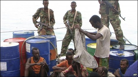 File pic of Puntland police guarding captured Somali pirates in Bossasso, Somalia