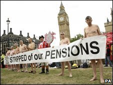 Protesting pensioners outside Parliament, June 2009