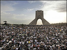 Opposition supporters gather in Tehran