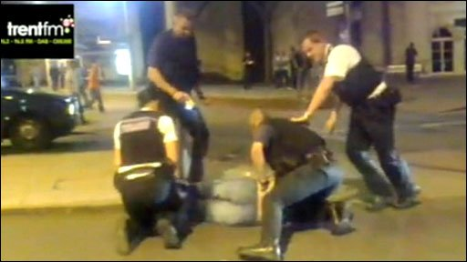 Police Taser arrest/courtesy of Trent FM