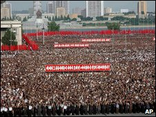 A North Korean rally against UN sanctions in Pyongyang, 15 June 2009