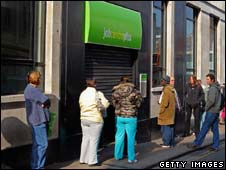 Queue outside a job centre in Bristol