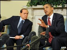 Berlusconi and Obama at the White House June 15