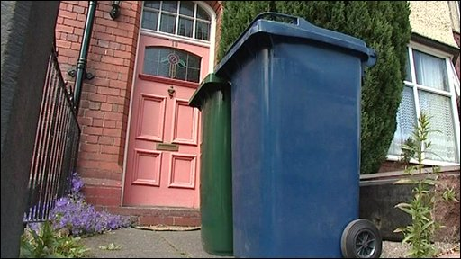 Wheelie bins outside a house