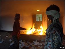 A Communist party office set on fire in Lalgarh