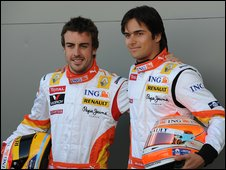 Fernando Alonso (left) and Nelson Piquet (right)