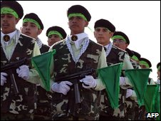 Members of the Iranian Basiji militia take part in an annual military parade
