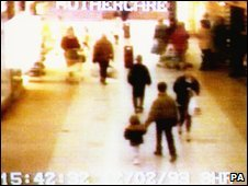 CCTV image showing Jon Venables and Robert Thompson leading James Bulger away