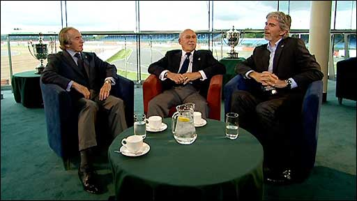 British motorsport legends Sir Stirling Moss, Sir Jackie Stewart and Damon Hill debate the future of the British Grand Prix
