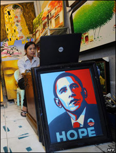 A portrait of the US President Obama displayed in a Vietnamese shop