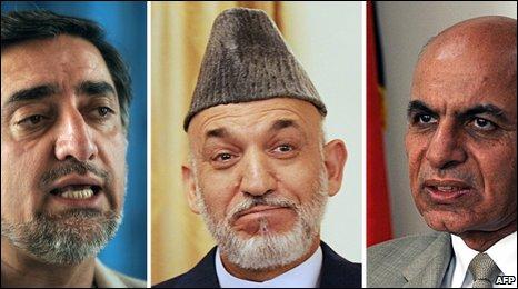 Abdullah Abdullah (L), Hamid Karzai and Ashraf Ghani Ahmadzai (R)