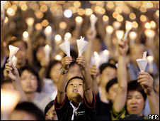 A candlelight vigil to mark the 20th anniversary of Tiananmen Square
