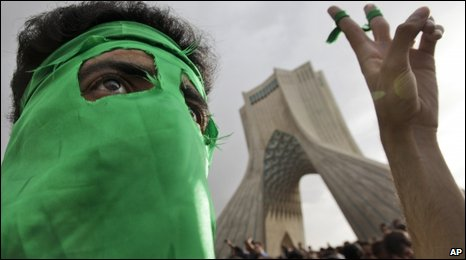 Demonstrators supporting Iranian presidential contender Mir Hossein Mousavi gather in Azadi (Freedom) Square in Teheran