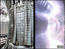 Jet tokamak (EFDA) Plasma in a tokamak - a fusion reactor device - can reach millions of degrees