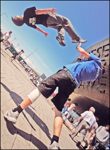 Breakdancers perform at the Wales Millennium Centre's annual Breakin' the Bay festival in Cardiff (Kirsten Mctenam).